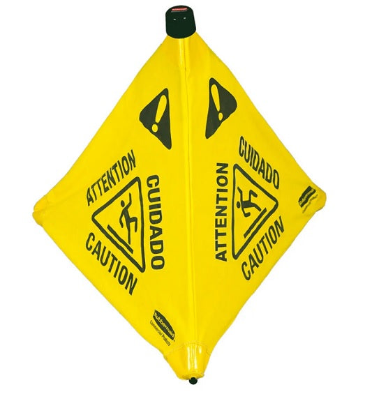 "Rubbermaid Multilingual ""Wet Floor"" Pop Up Floor Cone"