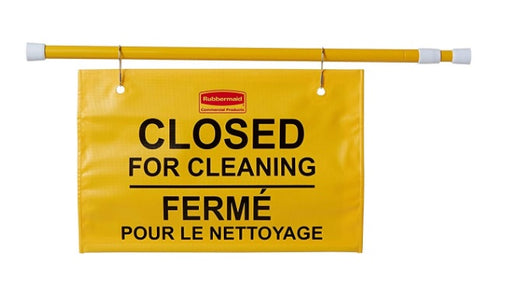 "Rubbermaid ""Closed for Cleaning"" Multilingual Hanging Doorway Sign"