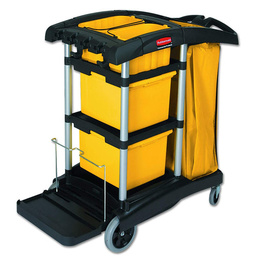 Rubbermaid High Capacity Janitor Cleaning Cart Containing Bins