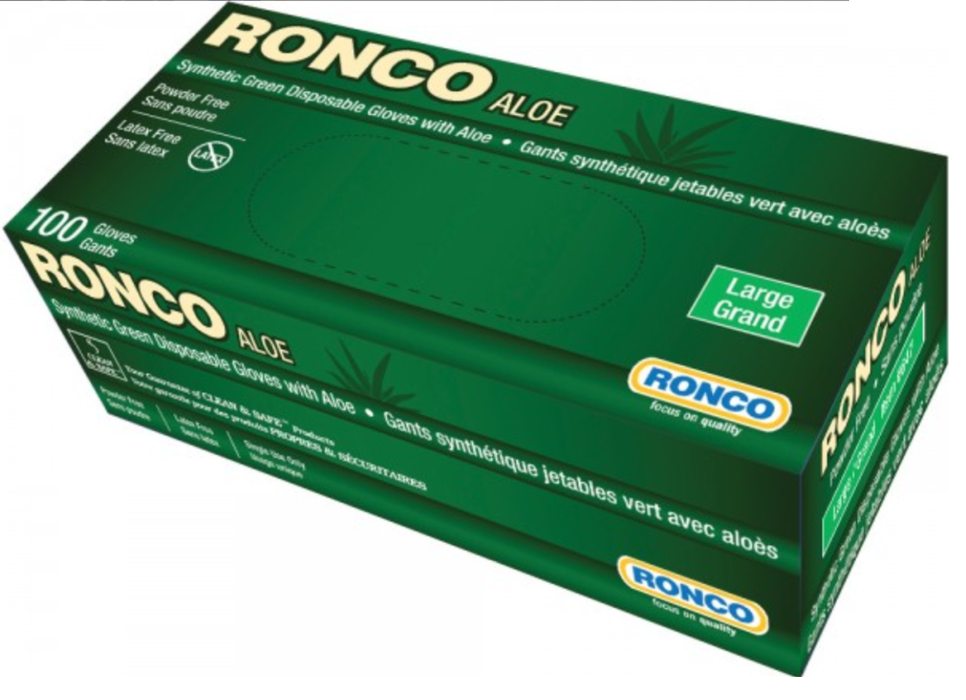 Ronco Aloe 4 Mil Synthetic Stretch Disposable Glove - 10 Boxes/Case