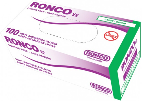 Ronco V2 4 Mil Powder Free Vinyl Clear Disposable Gloves - 10 Boxes/Case