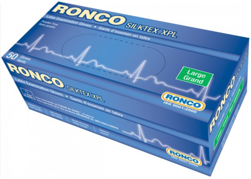 Ronco Silktex XPL 13 Mil Powder Free Heavy Duty Latex Gloves (Medical Grade) - 10 Boxes/Case