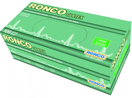 Ronco Silktex 5 Mil Powder Free Latex Gloves (Medical Grade) - 10 Boxes/Case