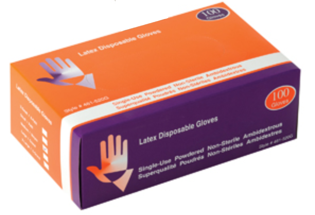 Safeguard Disposable Powdered Industrial Latex Gloves - 10 Boxes/Case