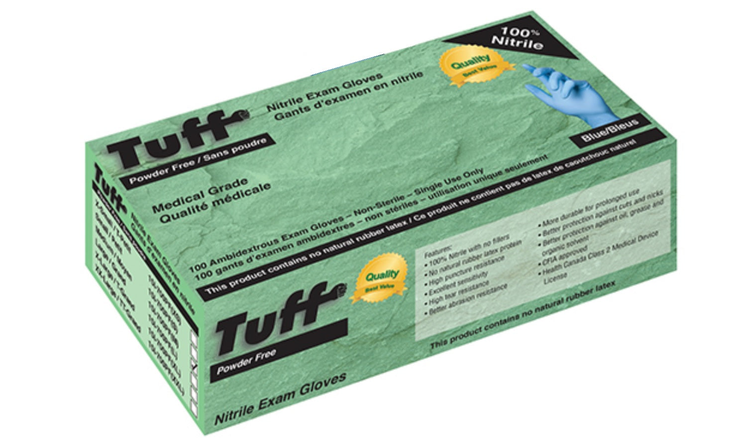 Tuff Powder Free 4 Mil Nitrile Gloves (Medical Grade)