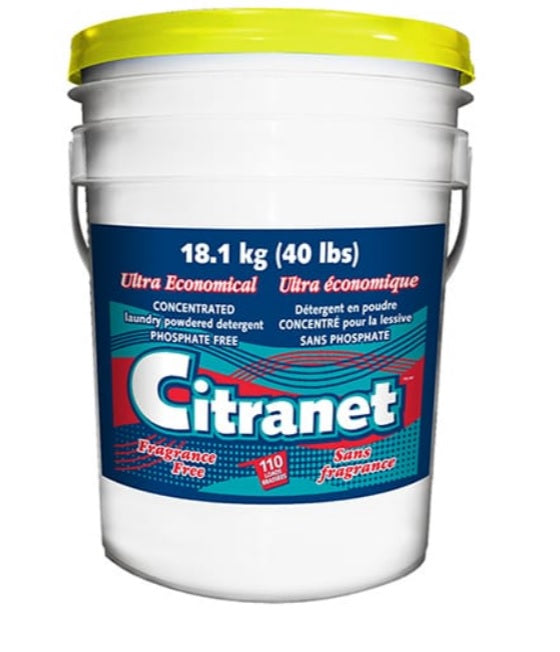 Citranet Concentrated Laundry Powdered Detergent Fragrance Free - 18.1 kg