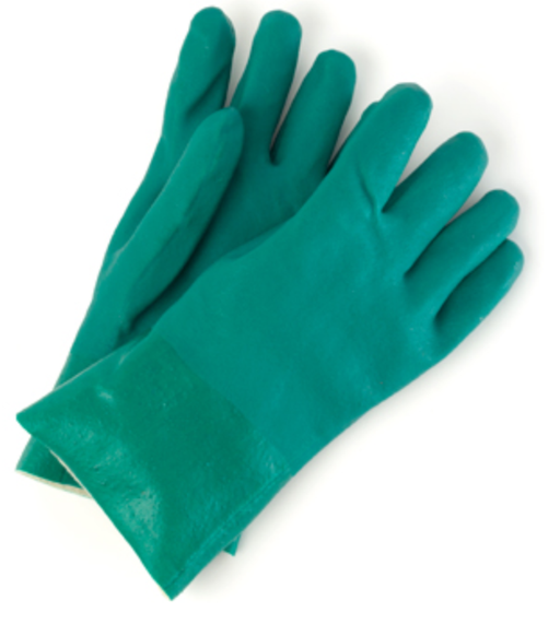 Green Double Dipped PVC Gloves - 12 Pairs/Pack