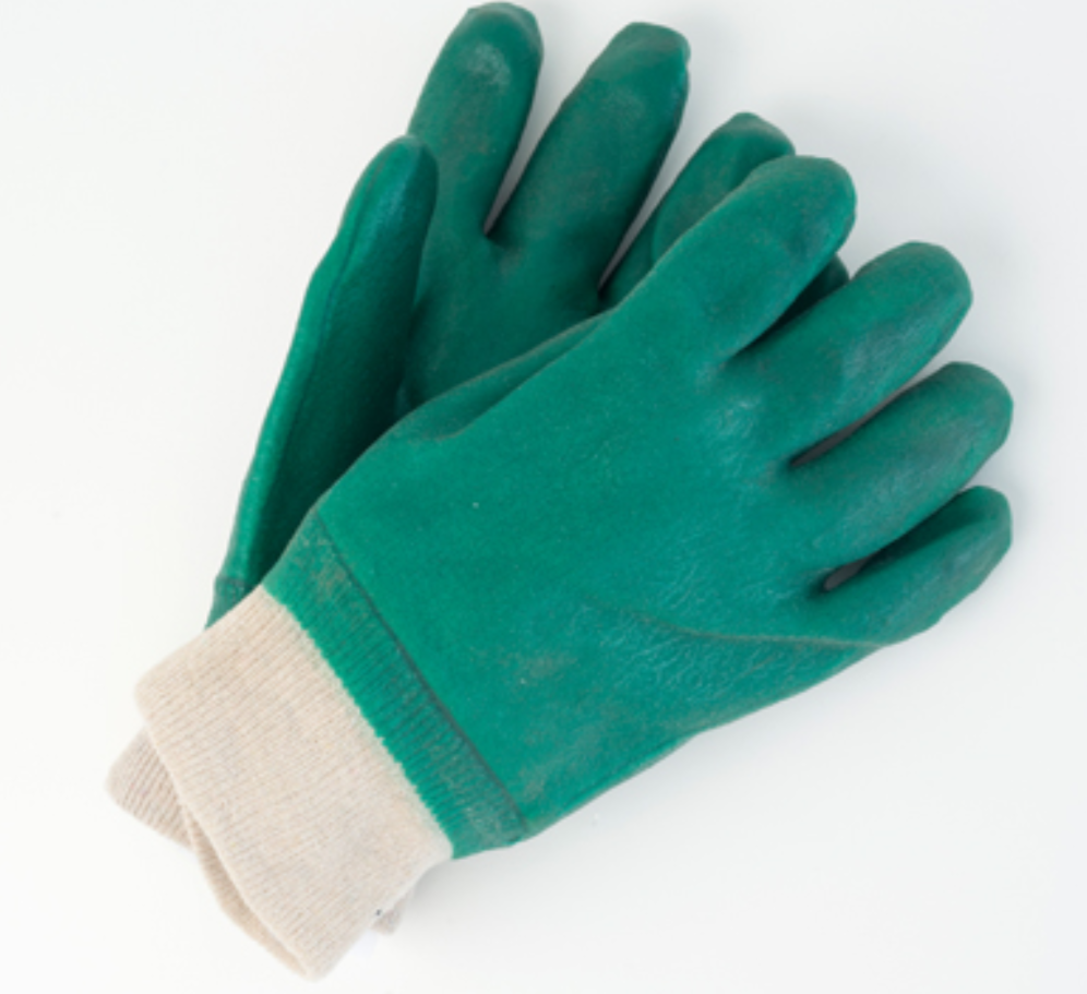 Green Double Dipped PVC Gloves with Knit Wrist 10 Inch - 12 Pairs/Pack