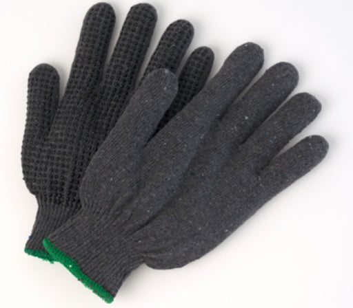 Poly/Cotton Grey String Knit Gloves with Dots - 12 Pairs/Pack