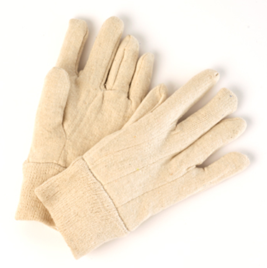 Ladies Beige Jersey Gloves with Knit Wrist - 12 Pairs/Pack