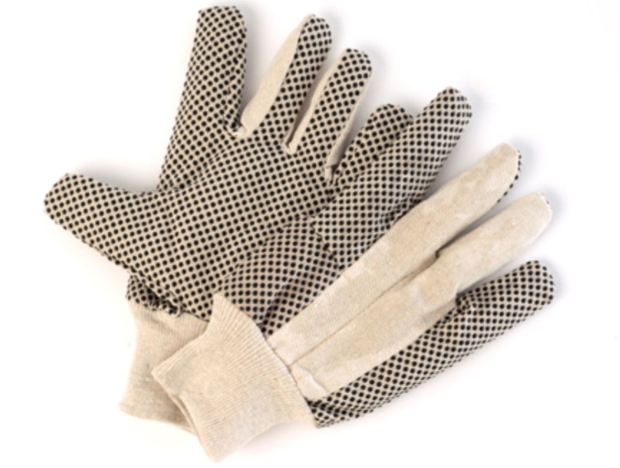 Ladies Cotton Drill Gloves with Knit Wrist & Dots - 12 Pairs/Pack