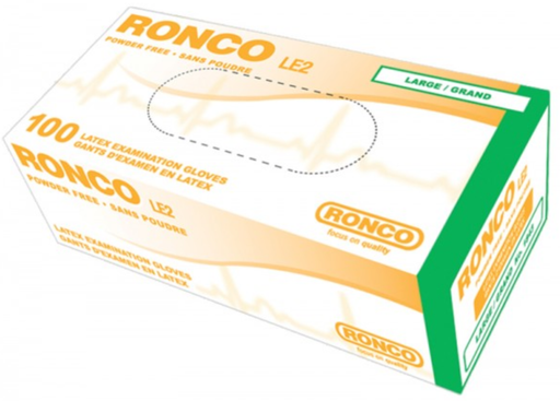 Ronco LE2 4 Mil Powder Free Latex Gloves (Medical Grade) - 10 Boxes/Case