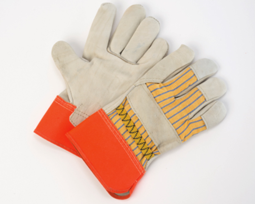 Mens Leather Fitters Glove Cowhide with Orange Cuff  - 12 Pairs/Pack