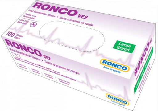 Ronco VE2 4 Mil Powder Free Vinyl Clear Disposable Gloves (Medical Grade) - 10 Boxes/Case