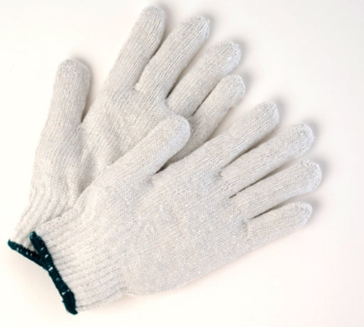 Poly/Cotton Bleached String Knit Gloves - 12 Pairs/Pack