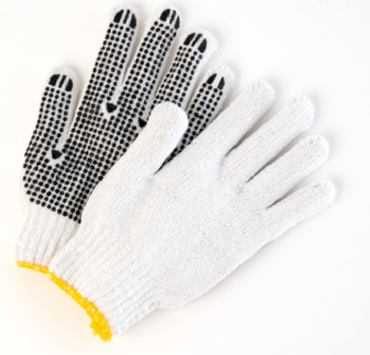 Poly/Cotton Bleached String Knit Gloves with Dots - 12 Pairs/Pack