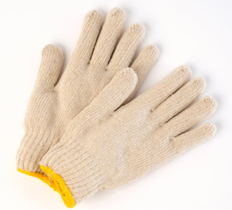 Poly/Cotton Natural String Knit Gloves - 12 Pairs/Pack