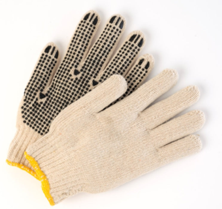 Poly/Cotton Natural String Knit Gloves with Dots - 12 Pairs/Pack