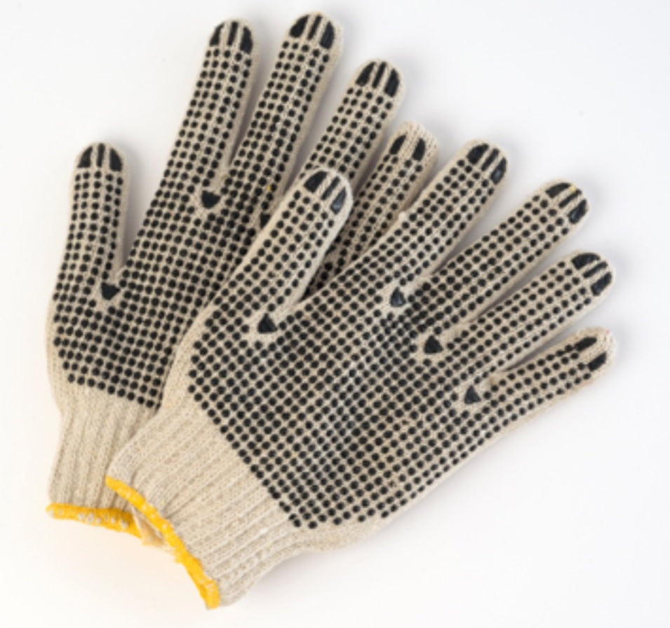 Poly/Cotton Natural String Knit Gloves with Dots on Both Sides - 12 Pairs/Pack