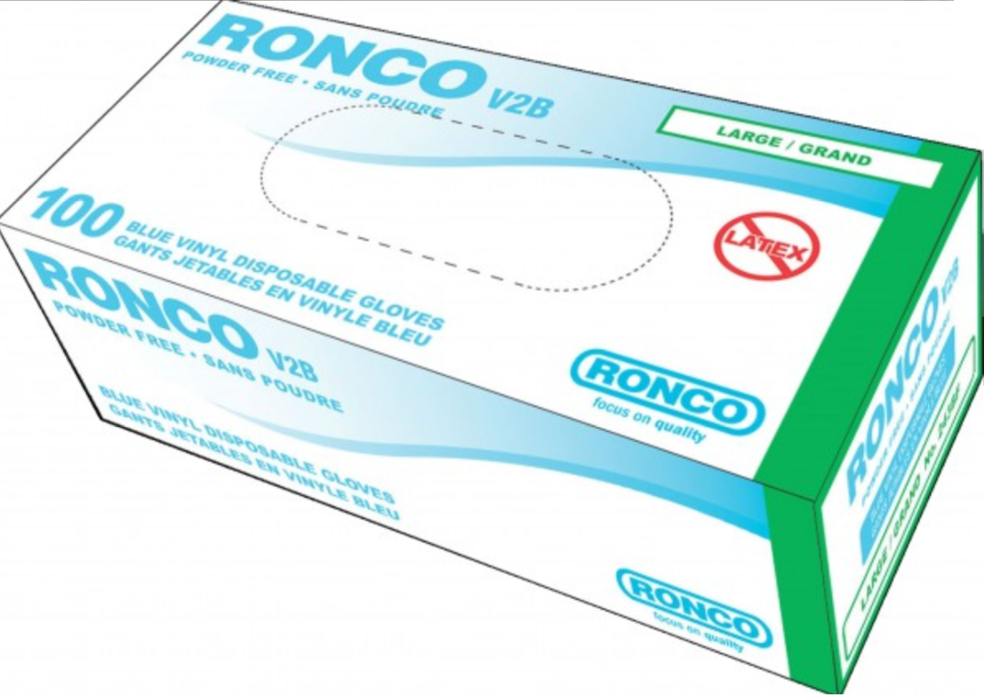 Ronco V2B 4 Mil Powder Free  Vinyl Blue Disposable Gloves - 10 Boxes/Case