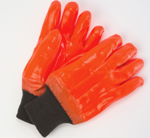 Orange Foam Insulated PVC Gloves with Knit Wrist - 12 Pairs/Pack