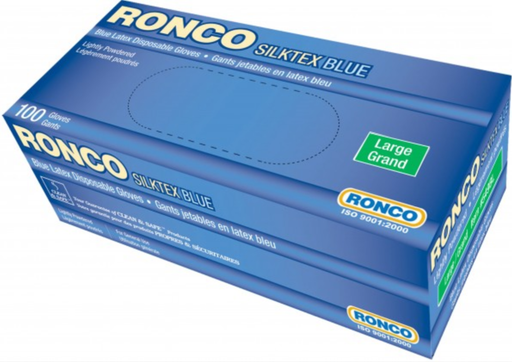 Ronco Silktex Blue 5 Mil Lightly Powdered Latex Gloves - 10 Boxes/Case