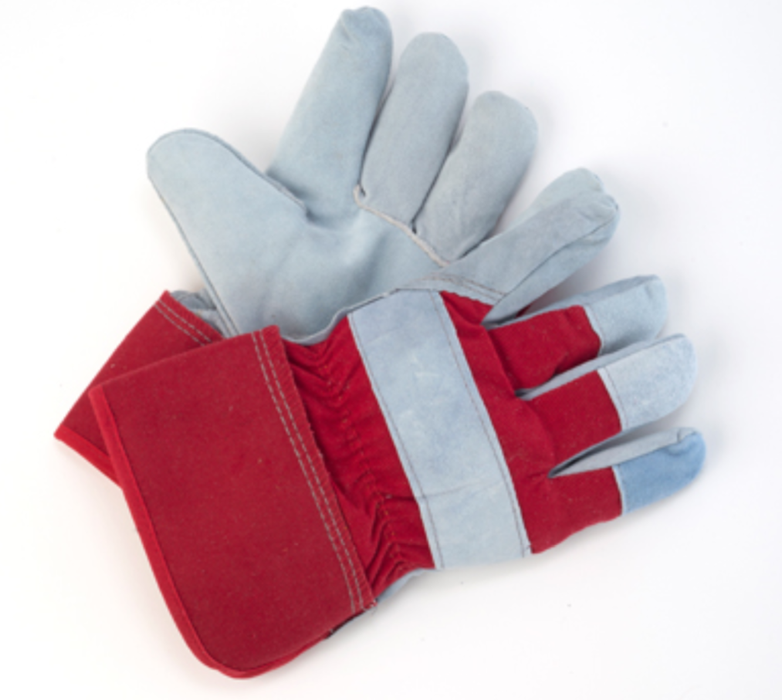 Men's Split Leather Gloves with Red Foam Liner - 12 Pairs/Pack