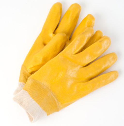 Yellow PVC Gloves with Knit Wrist 10 Inch - 12 Pairs/Pack