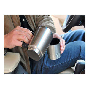 Stainless Steel 12V Car Auto Adapter Heated Travel Mug Thermos Heating Cup Kettle