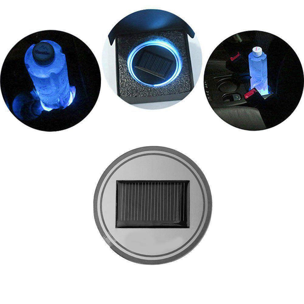 Solar LED Car Cup Holder Mat Pad Waterproof Light Bottle Drinks Coaster (blue light)