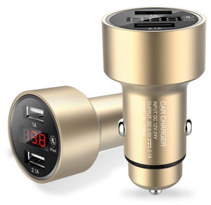 Car Charger Tracker 3.1A Dual USB Car Charger Adapter with GPS Locator for Cigarette Lighter Socket with LED Voltage Display(Car Finder Function & Parking Time Alarm)