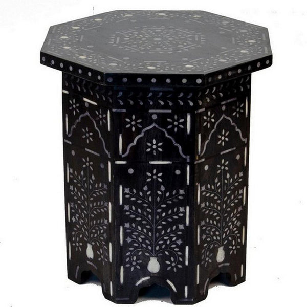 Indian Wooden Octagonal Bone Inlay Side Table - Small - Dark Finish