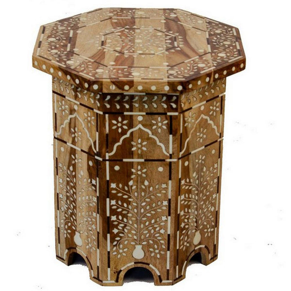 Indian Wooden Octagonal Bone Inlay Side Table - Small - Natural