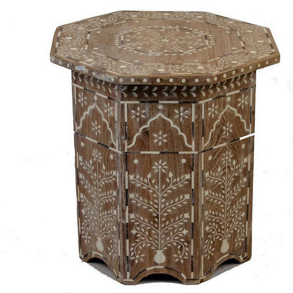 Indian Wooden Octagonal Bone Inlay Side Table - Small - Whitewash