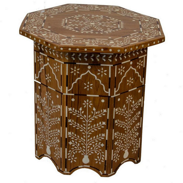 Indian Wooden Octagonal Bone Inlay Side Table - Small - Light