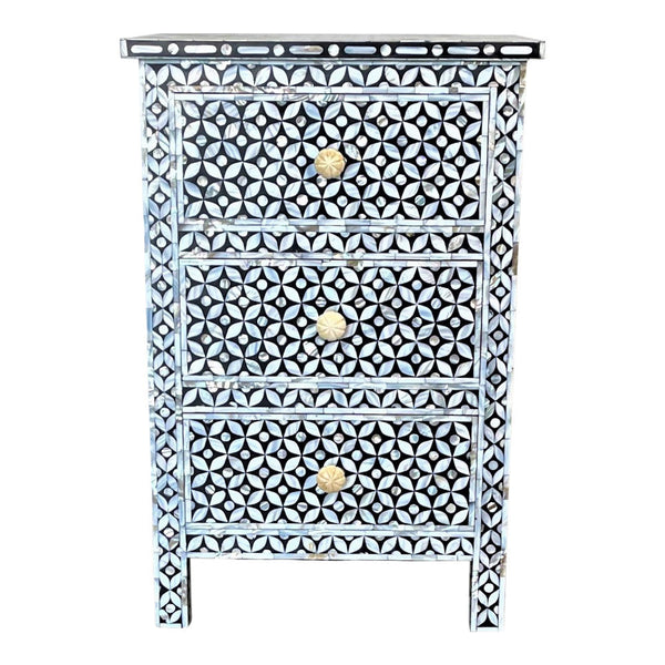 Indian Mother Of Pearl 3-Drawer Night Stand