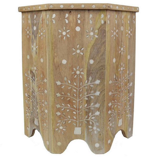 Indian Bleached Bone Inlay Octagonal Side Table
