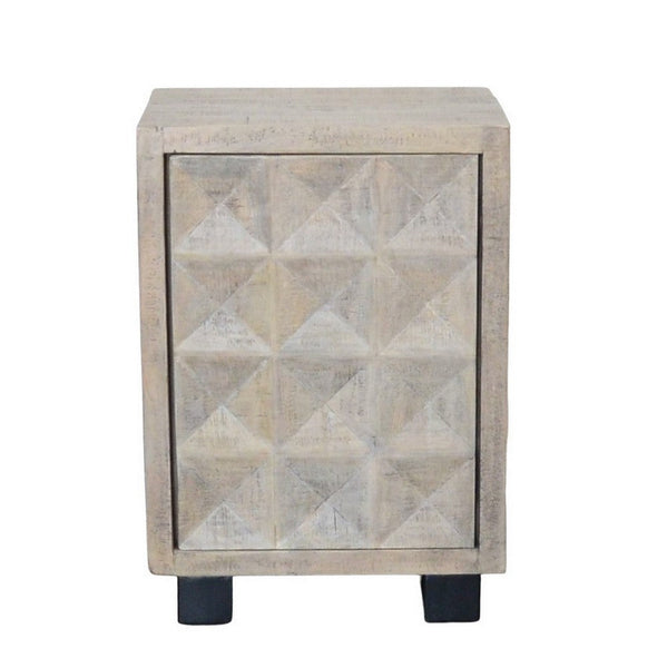 Indian Whitewashed Wooden 1-Door Side Cabinet With Iron Base