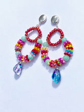 Load image into Gallery viewer, Multicolored blue Rainbow creole glass pendant on silver stud earring