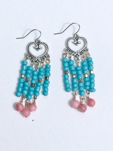 Silver Heart Folk chandelier earring of turquoise gold and pink rose quartzite beads.