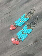 Load image into Gallery viewer, Silver Heart Folk chandelier earring of turquoise gold and pink rose quartzite beads.