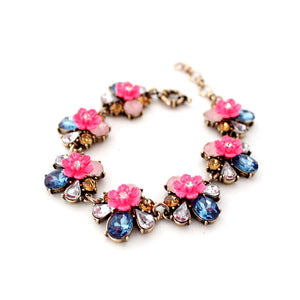 Luxury Ladies Crystal Rhinestone Flowers Style Alloy Chain Bracelet Choker Necklace