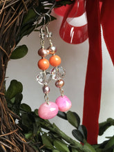 Load image into Gallery viewer, Large Pink quartzite stone on glass cut crystal with pearls and orange quartzite bead earring