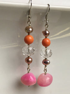 Large Pink quartzite stone on glass cut crystal with pearls and orange quartzite bead earring