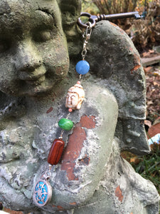 Buddha with Blue Jasper Silver Medallion keychain zipper charm