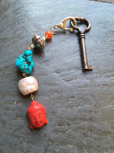 Load image into Gallery viewer, Red Buddha keychain zipper charm