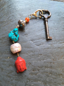 Red Buddha keychain zipper charm