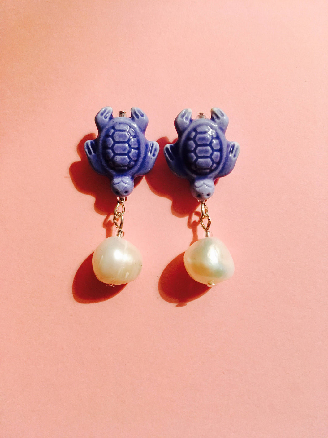 luck pearl earrings - Ceramic Turtle with freshwater pearl on Silver stud