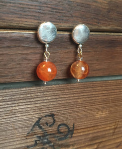 Amber silver weekender earrings - Amber bead on silver plate