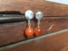 Load image into Gallery viewer, Amber silver weekender earrings - Amber bead on silver plate